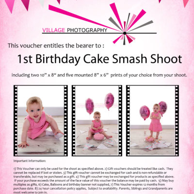 1st birthday cake smash girl gift voucher, Hebburn, Newcastle. Village Photography