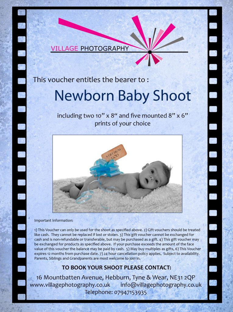 Newborn Baby Boy Gift Voucher, Village Photography, Newcastle