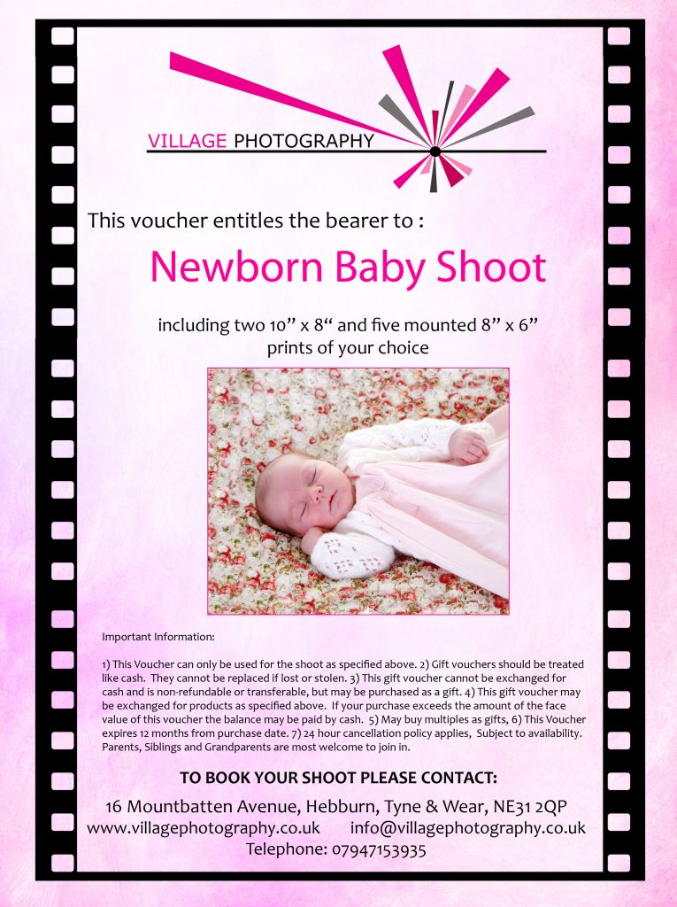 Newborn Baby Girl Gift Voucher, Village Photography, Newcastle