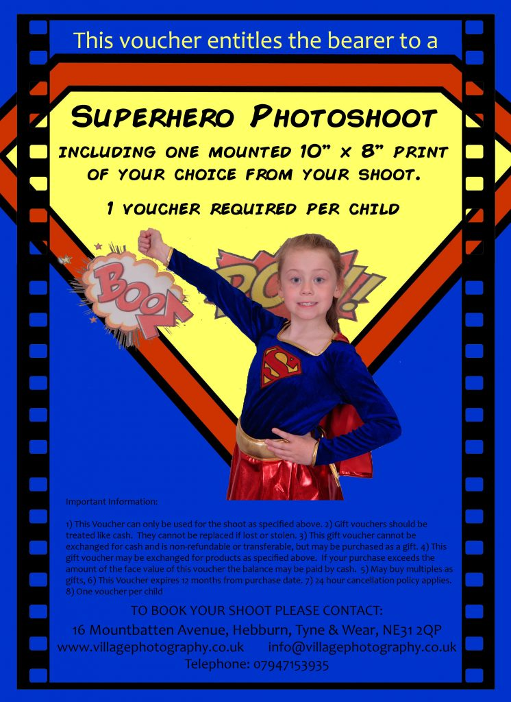 Superhero Themed Photo Shoot Gift Voucher, Village Photography, Newcastle.