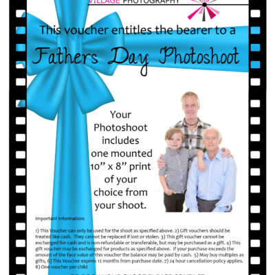 Fathers Day Gift Voucher. Village Photography, Hebburn. Newcastle